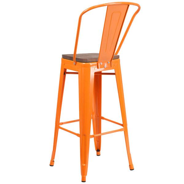 "Bistro Style Bar Stool 30"" Orange Metal Barstool"