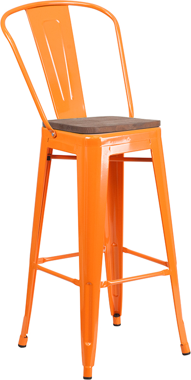 """Wholesale 30"""" High Orange Metal Barstool with Back and Wood Seat"""
