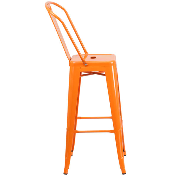 Lowest Price 30'' High Orange Metal Indoor-Outdoor Barstool with Back