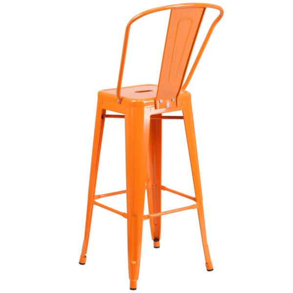 "Bistro Style Bar Stool 30"" Orange Metal Outdoor Stool"