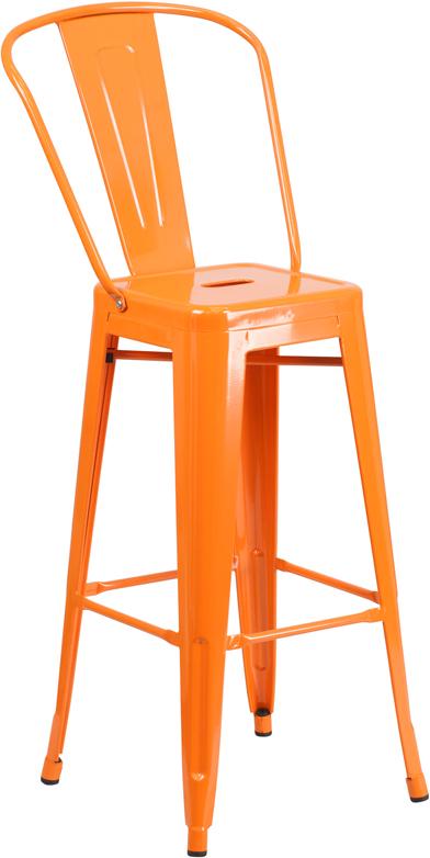 Wholesale 30'' High Orange Metal Indoor-Outdoor Barstool with Back