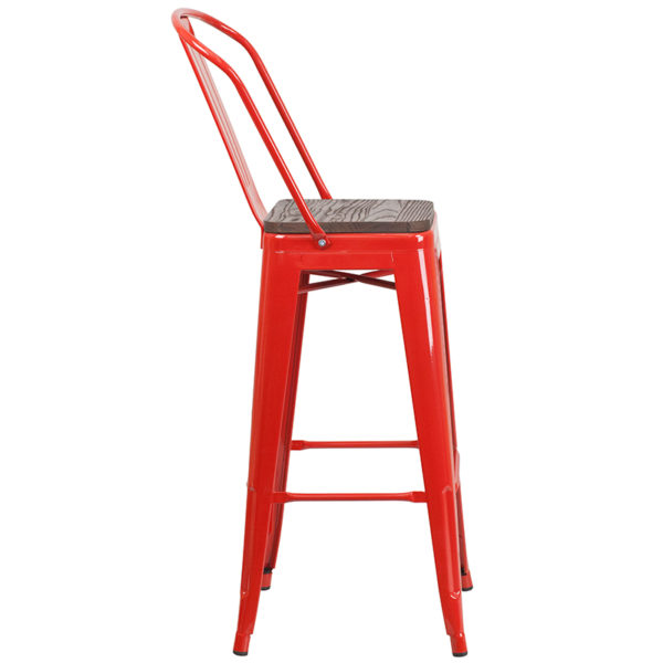 "Lowest Price 30"" High Red Metal Barstool with Back and Wood Seat"