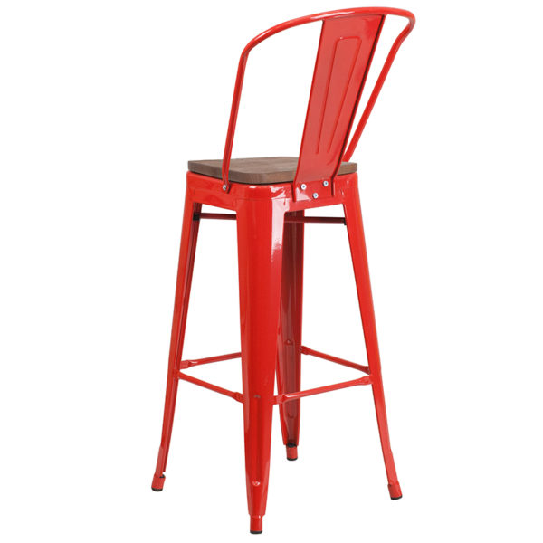 "Bistro Style Bar Stool 30"" Red Metal Barstool"