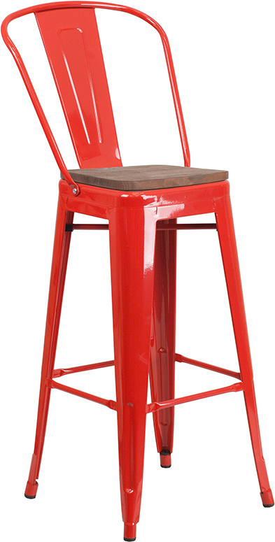 "Wholesale 30"" High Red Metal Barstool with Back and Wood Seat"