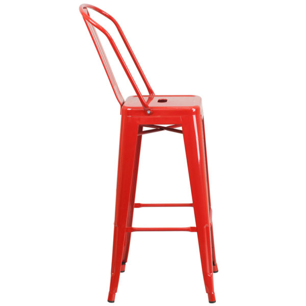 Lowest Price 30'' High Red Metal Indoor-Outdoor Barstool with Back