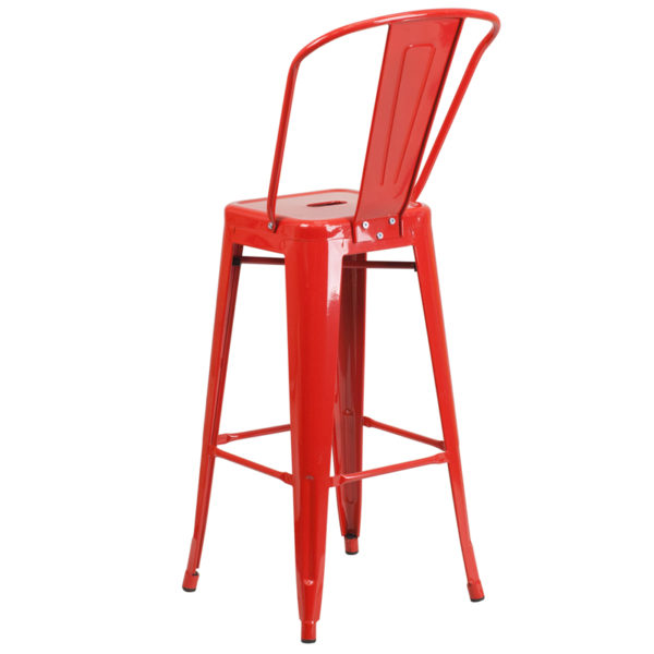 """Bistro Style Bar Stool 30"""" Red Metal Outdoor Stool"""