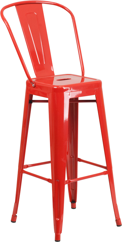Wholesale 30'' High Red Metal Indoor-Outdoor Barstool with Back