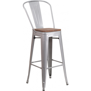 "Wholesale 30"" High Silver Metal Barstool with Back and Wood Seat"