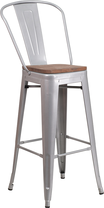 """Wholesale 30"""" High Silver Metal Barstool with Back and Wood Seat"""