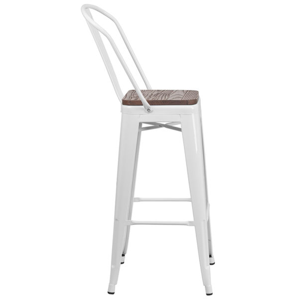 "Lowest Price 30"" High White Metal Barstool with Back and Wood Seat"