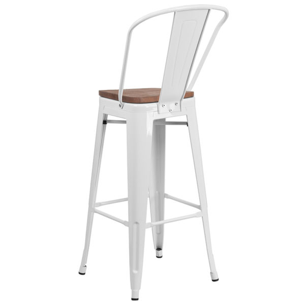 "Bistro Style Bar Stool 30"" White Metal Barstool"