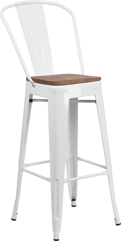"Wholesale 30"" High White Metal Barstool with Back and Wood Seat"