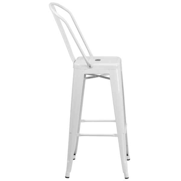 Lowest Price 30'' High White Metal Indoor-Outdoor Barstool with Back