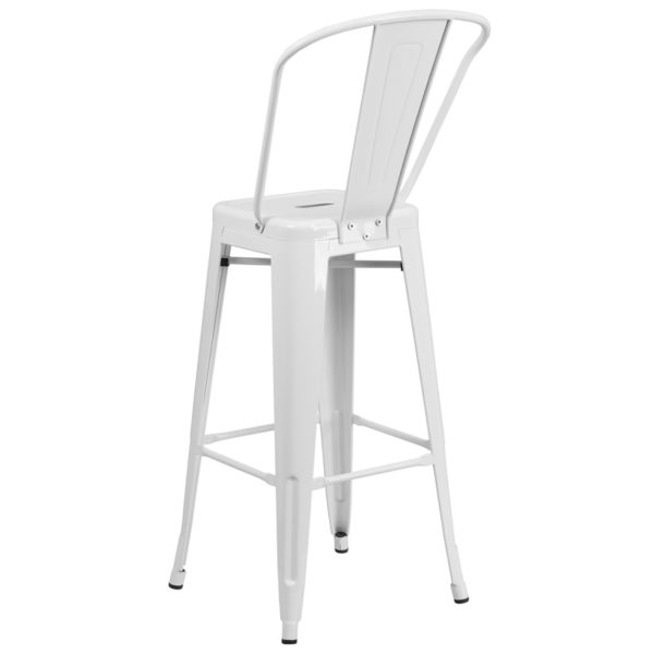 "Bistro Style Bar Stool 30"" White Metal Outdoor Stool"
