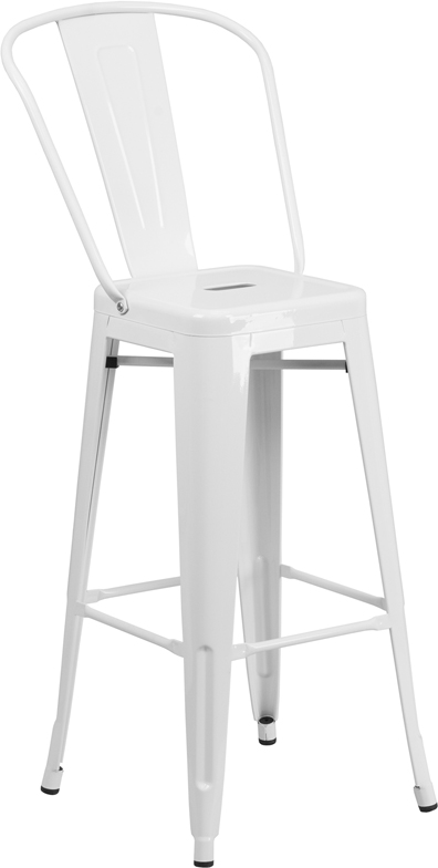Wholesale 30'' High White Metal Indoor-Outdoor Barstool with Back