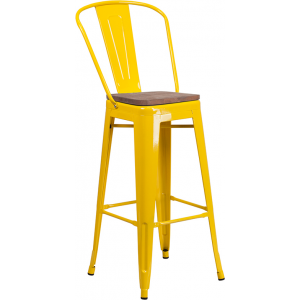 "Wholesale 30"" High Yellow Metal Barstool with Back and Wood Seat"