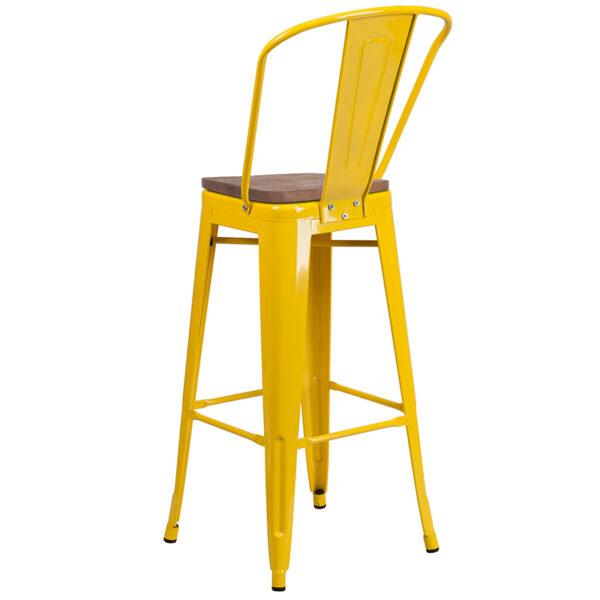 "Bistro Style Bar Stool 30"" Yellow Metal Barstool"