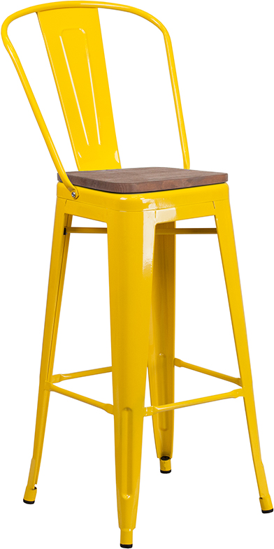 """Wholesale 30"""" High Yellow Metal Barstool with Back and Wood Seat"""