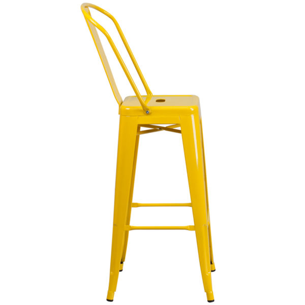 Lowest Price 30'' High Yellow Metal Indoor-Outdoor Barstool with Back