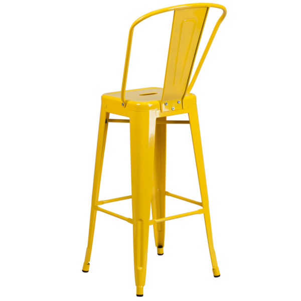 """Bistro Style Bar Stool 30"""" Yell Metal Outdoor Stool"""