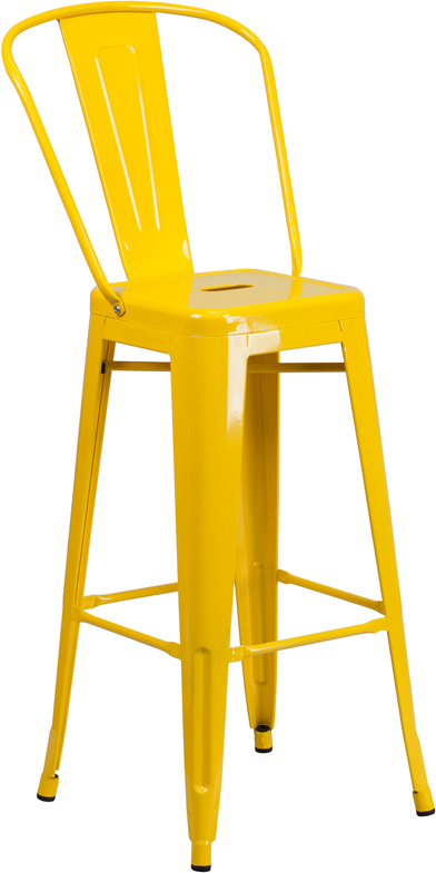 Wholesale 30'' High Yellow Metal Indoor-Outdoor Barstool with Back
