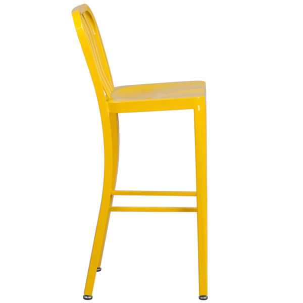 Lowest Price 30'' High Yellow Metal Indoor-Outdoor Barstool with Vertical Slat Back