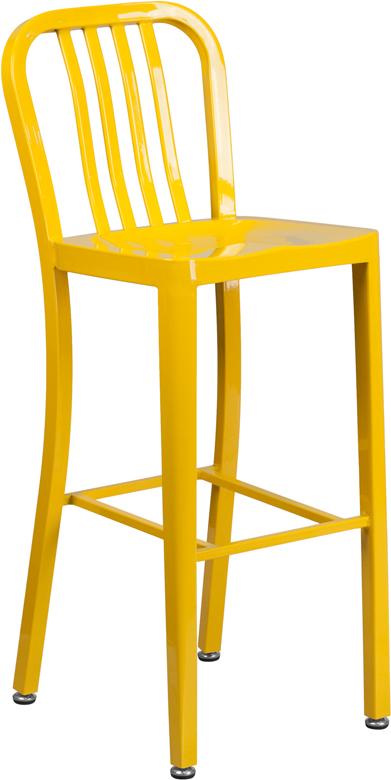 Wholesale 30'' High Yellow Metal Indoor-Outdoor Barstool with Vertical Slat Back