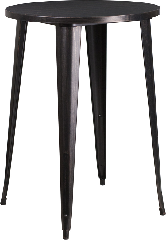 Wholesale 30'' Round Black-Antique Gold Metal Indoor-Outdoor Bar Height Table