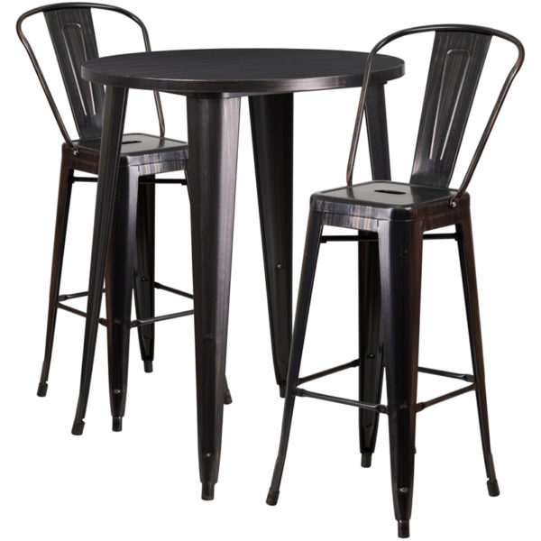 Lowest Price 30'' Round Black-Antique Gold Metal Indoor-Outdoor Bar Table Set with 2 Cafe Stools