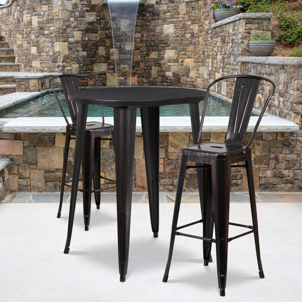 Wholesale 30'' Round Black-Antique Gold Metal Indoor-Outdoor Bar Table Set with 2 Cafe Stools