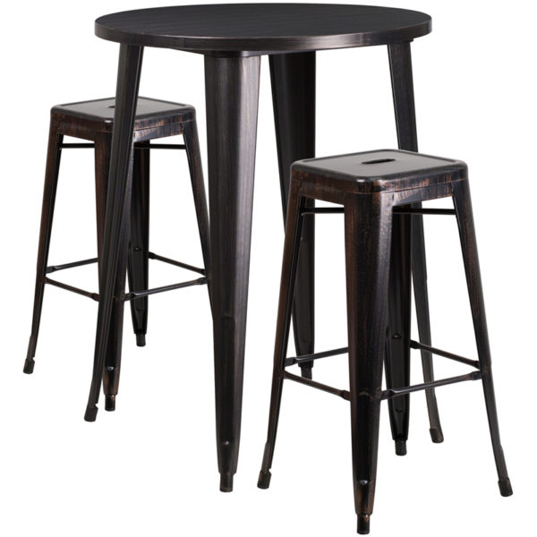 Lowest Price 30'' Round Black-Antique Gold Metal Indoor-Outdoor Bar Table Set with 2 Square Seat Backless Stools