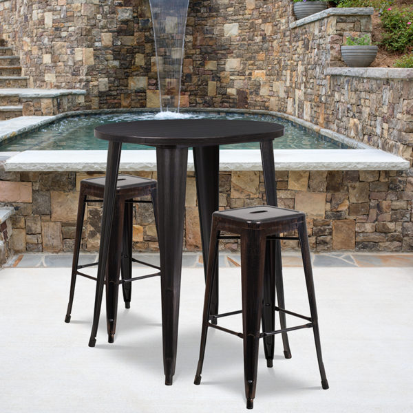 Wholesale 30'' Round Black-Antique Gold Metal Indoor-Outdoor Bar Table Set with 2 Square Seat Backless Stools