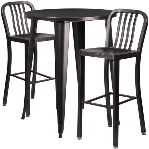 Lowest Price 30'' Round Black-Antique Gold Metal Indoor-Outdoor Bar Table Set with 2 Vertical Slat Back Stools