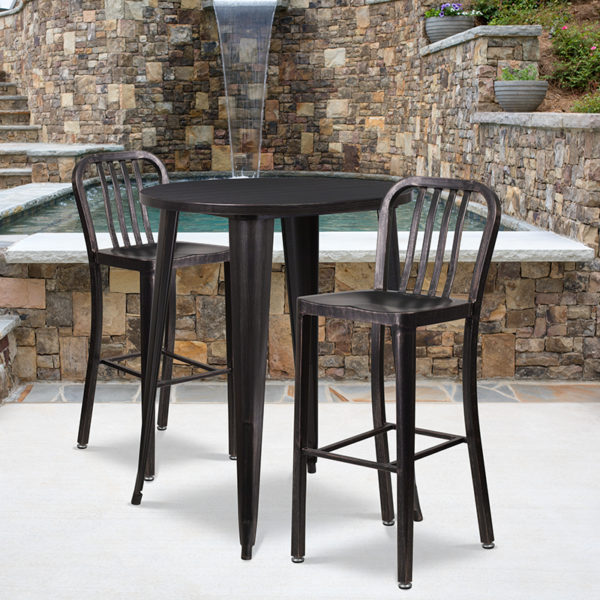 Wholesale 30'' Round Black-Antique Gold Metal Indoor-Outdoor Bar Table Set with 2 Vertical Slat Back Stools
