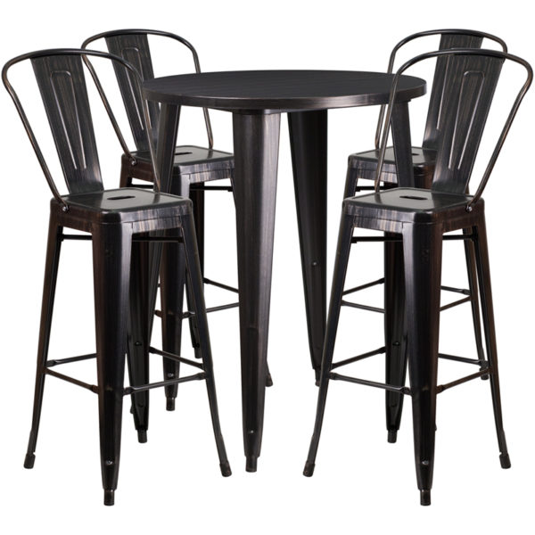 Lowest Price 30'' Round Black-Antique Gold Metal Indoor-Outdoor Bar Table Set with 4 Cafe Stools