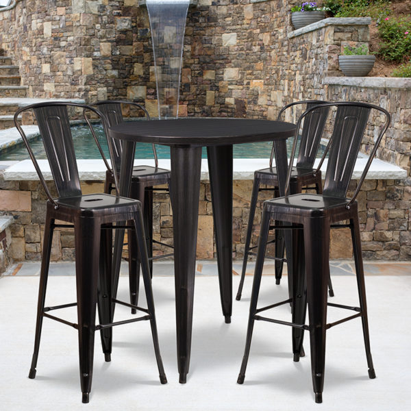 Wholesale 30'' Round Black-Antique Gold Metal Indoor-Outdoor Bar Table Set with 4 Cafe Stools