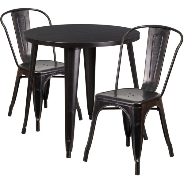 Wholesale 30'' Round Black-Antique Gold Metal Indoor-Outdoor Table Set with 2 Cafe Chairs