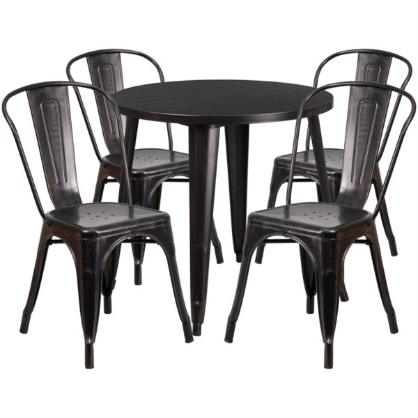 Wholesale 30'' Round Black-Antique Gold Metal Indoor-Outdoor Table Set with 4 Cafe Chairs