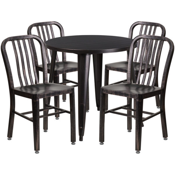 Wholesale 30'' Round Black-Antique Gold Metal Indoor-Outdoor Table Set with 4 Vertical Slat Back Chairs