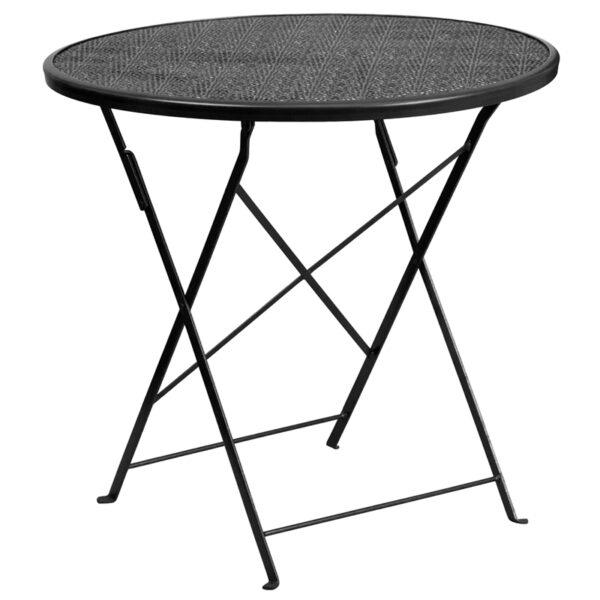 Wholesale 30'' Round Black Indoor-Outdoor Steel Folding Patio Table