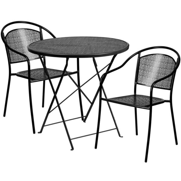 Wholesale 30'' Round Black Indoor-Outdoor Steel Folding Patio Table Set with 2 Round Back Chairs