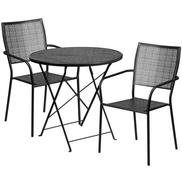 Wholesale 30'' Round Black Indoor-Outdoor Steel Folding Patio Table Set with 2 Square Back Chairs