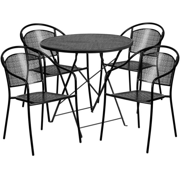 Wholesale 30'' Round Black Indoor-Outdoor Steel Folding Patio Table Set with 4 Round Back Chairs