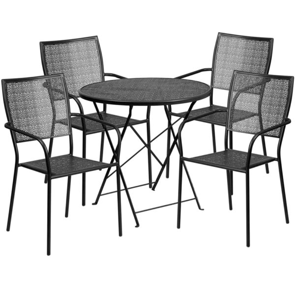 Wholesale 30'' Round Black Indoor-Outdoor Steel Folding Patio Table Set with 4 Square Back Chairs