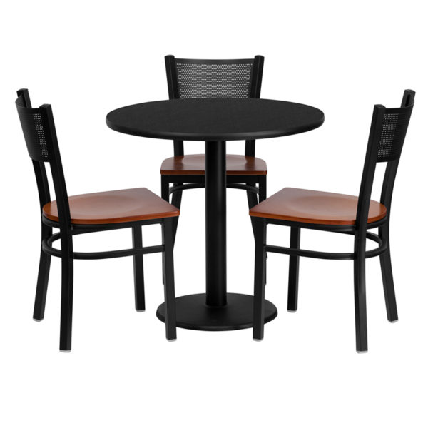 Lowest Price 30'' Round Black Laminate Table Set with 3 Grid Back Metal Chairs - Cherry Wood Seat