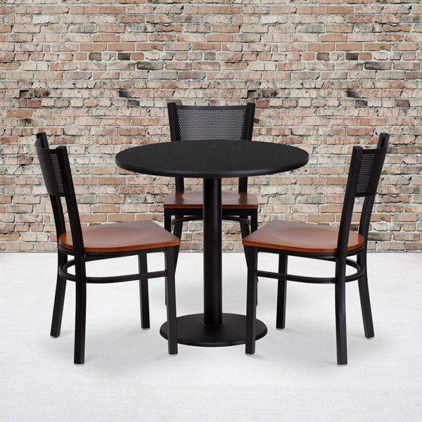 Wholesale 30'' Round Black Laminate Table Set with 3 Grid Back Metal Chairs - Cherry Wood Seat