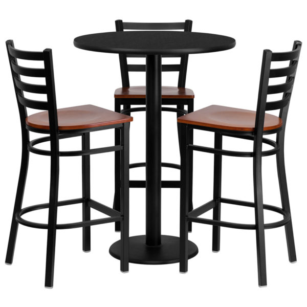 Lowest Price 30'' Round Black Laminate Table Set with 3 Ladder Back Metal Barstools - Cherry Wood Seat