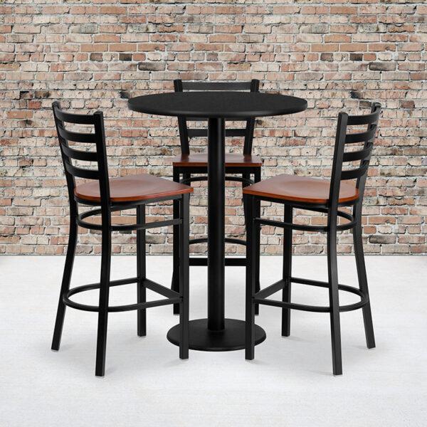 Wholesale 30'' Round Black Laminate Table Set with 3 Ladder Back Metal Barstools - Cherry Wood Seat