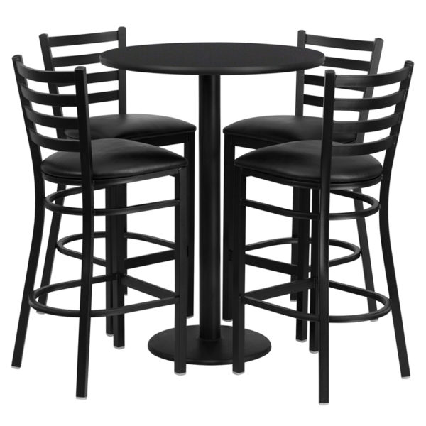 Lowest Price 30'' Round Black Laminate Table Set with Round Base and 4 Ladder Back Metal Barstools - Black Vinyl Seat