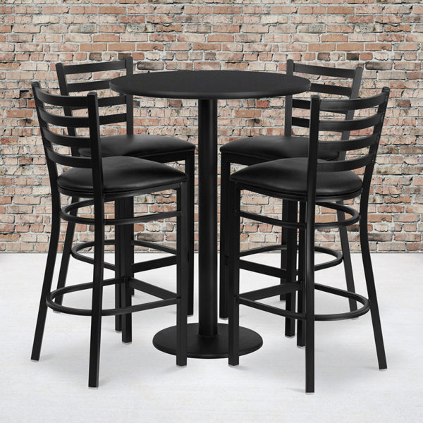 Wholesale 30'' Round Black Laminate Table Set with Round Base and 4 Ladder Back Metal Barstools - Black Vinyl Seat
